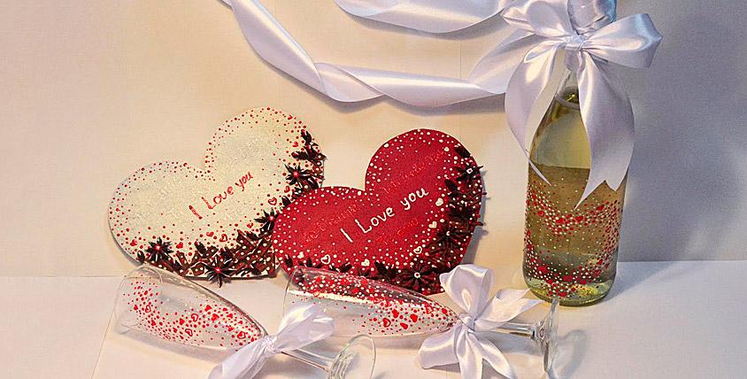 "Набор ко Дню святого Валентина + игристый напиток от арт-студии ""Палитра"""