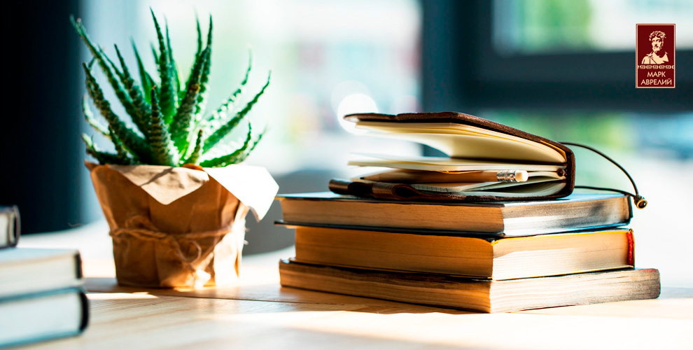 Ассортимент книг по акции в книжном магазине «Марк Аврелий»