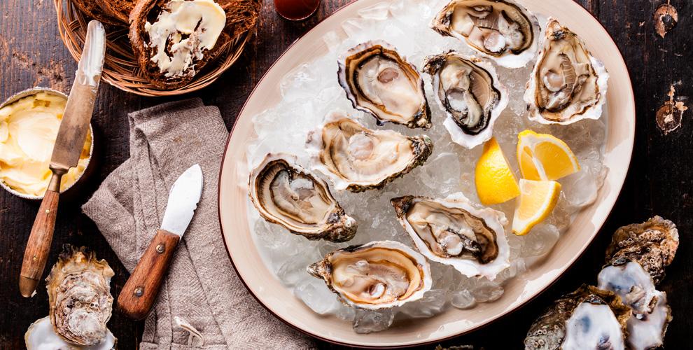 Устрицы, камчатский краб, моллюски, гребешки откомпании «Морской мир»