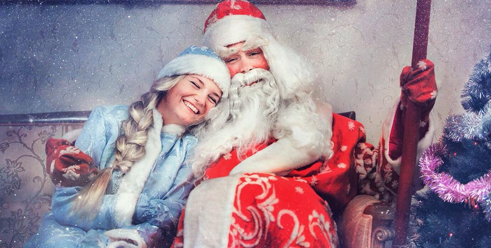 «Русская сказка»: поздравление Деда Мороза со Снегурочкой с катанием на упряжке