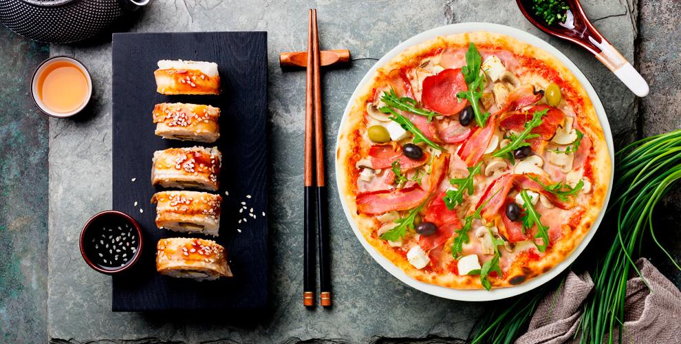 Меню сетов, горячих закусок, пиццы икоробочки ВОКотслужбы доставки «Суши & Гёдза»