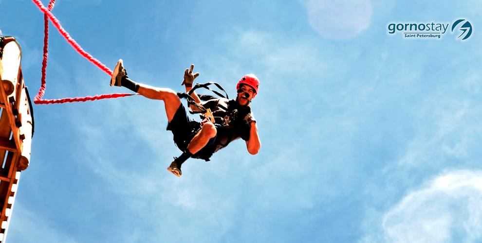 Свободное падение Quick Jump в веревочном парке GORNOSTAY в Купчино