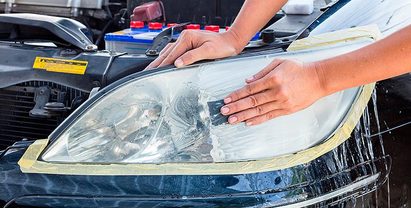 Абразивная полировка фар и полная химчистка салона автомобиля в автосервисе BLS