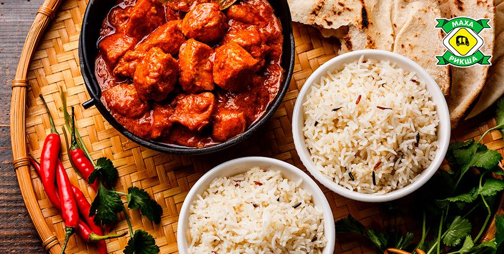Меню индийской, китайской и вегетарианской кухни от службы доставки «Маха рикша»