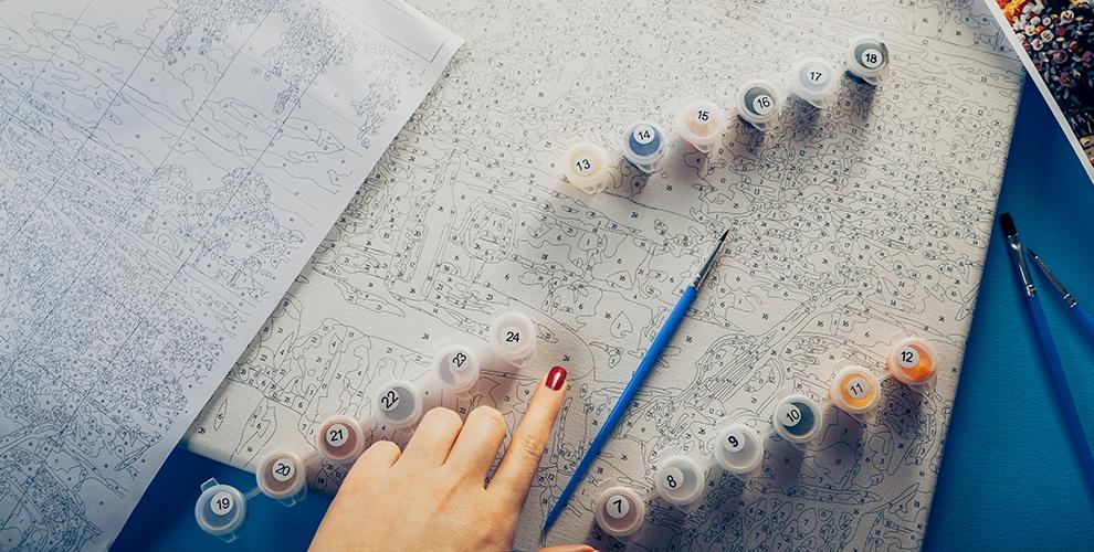 «Картины по номерам»: холст, акриловые краски, кисти, графическая схема картины
