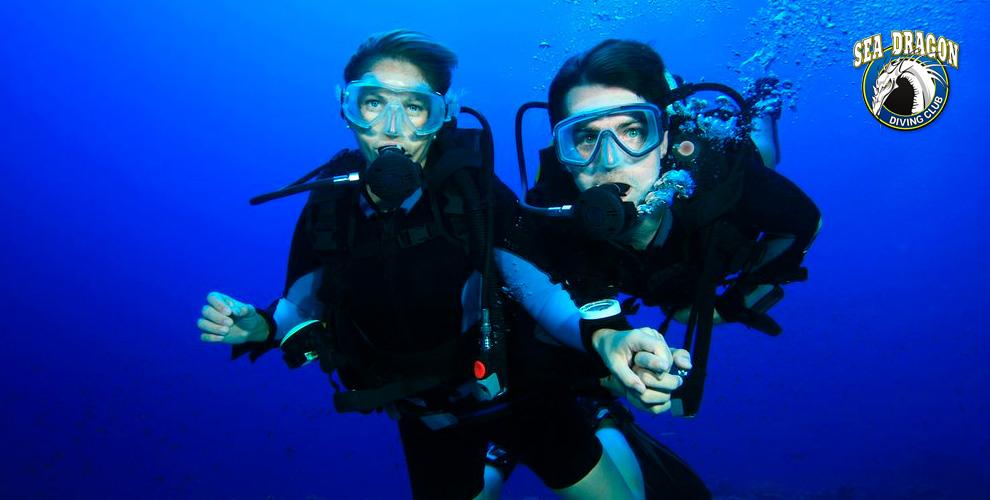 Пробное погружение с аквалангом в дайвинг-центре «Морской Дракон»