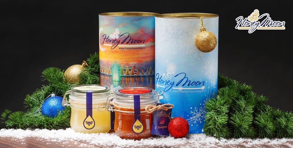 Подарочный набор мёда на выбор в тубусе от интернет-магазина HoneyMoon