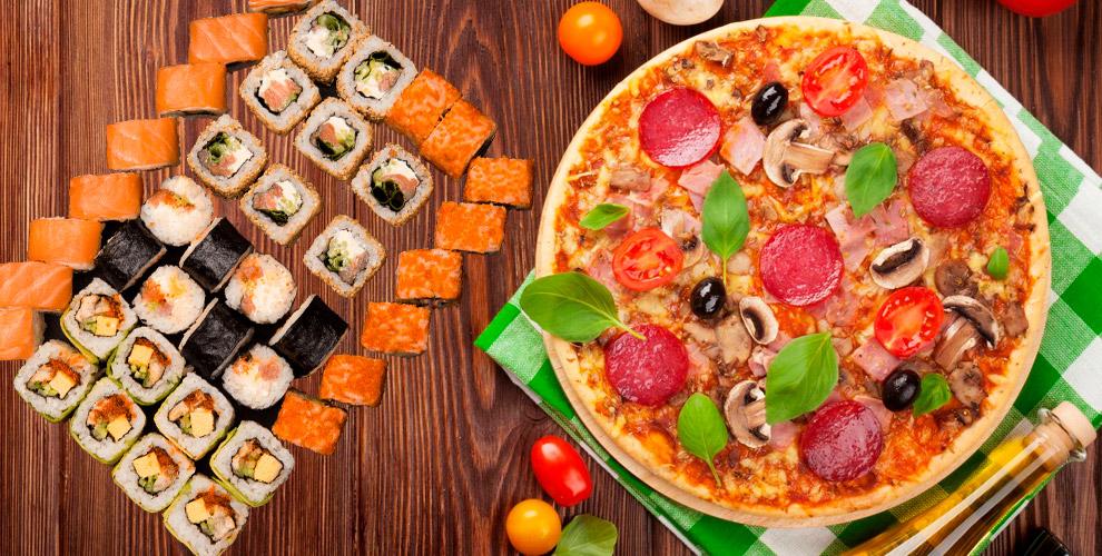 Меню пиццы, роллов исетов отслужбы доставки «Кушай суши»