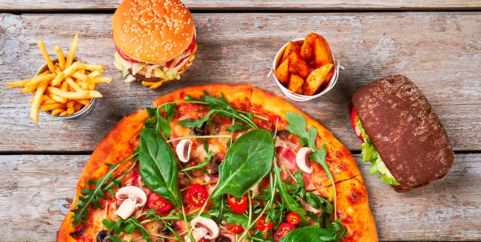 Меню пиццы ибургеров впиццерии «Пицца-Гравити»