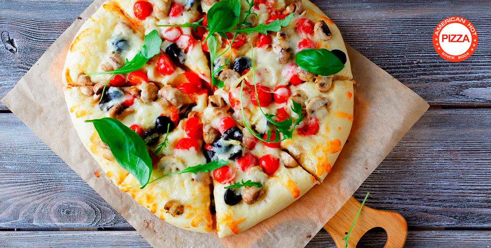 Разнообразное меню пиццы откомпании American HotPizza