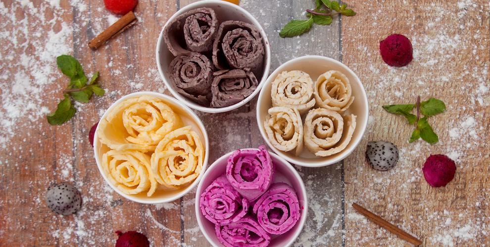 Жареное ролл-мороженое, соки, лимонады исмузи всети десерт-баров Vogoo