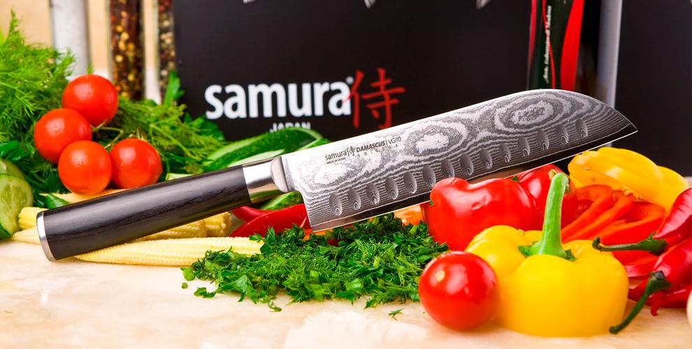 Кухонные ножи, магнитный держатель и доска в фирменный салонах Samura