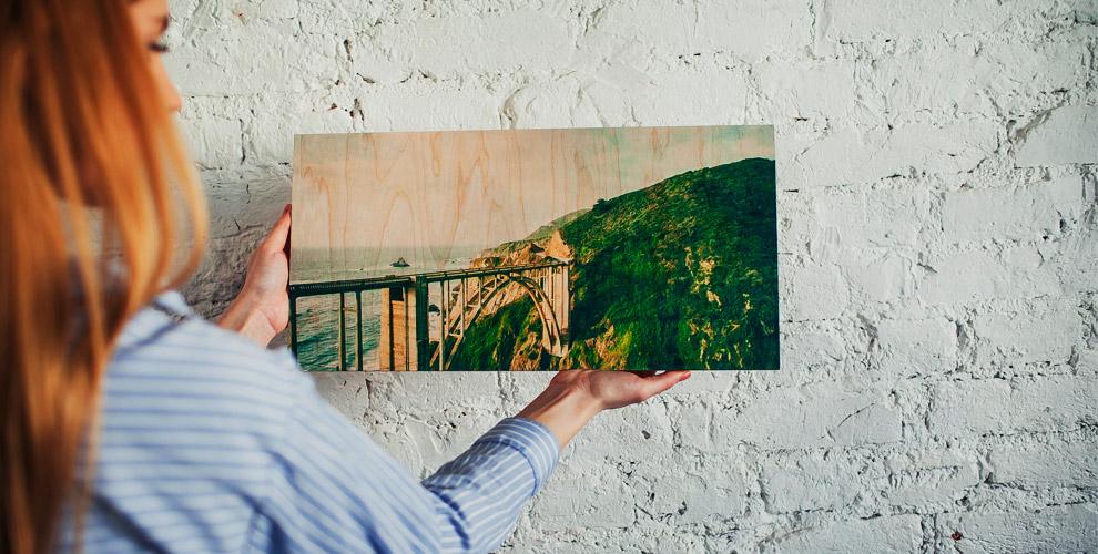 Квадратная, прямоугольная и панорамная печать на деревянном постере от студии печати TakeWood