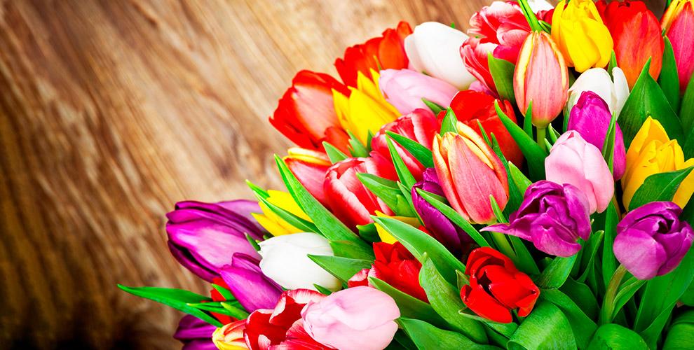 Букеты из синих, голландских роз и тюльпанов в компании Flowers Empire