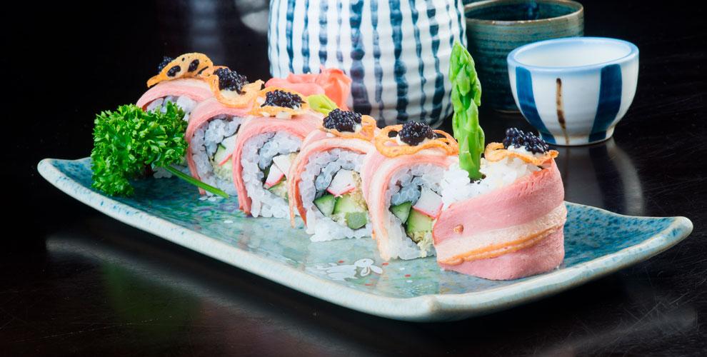 Меню японской кухни и осетинских пирогов от службы доставки Karamel-sushi.ru