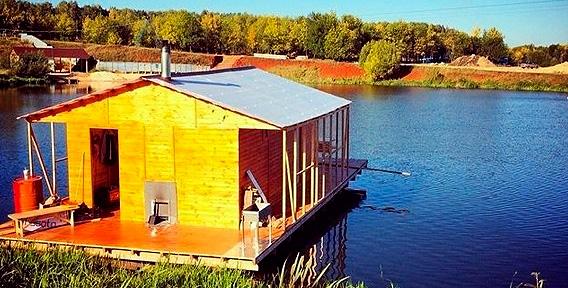 Отдых на воде в русской дровяной бане Hot House для компании до 10 человек на озере Шершни. Настоящий рай!