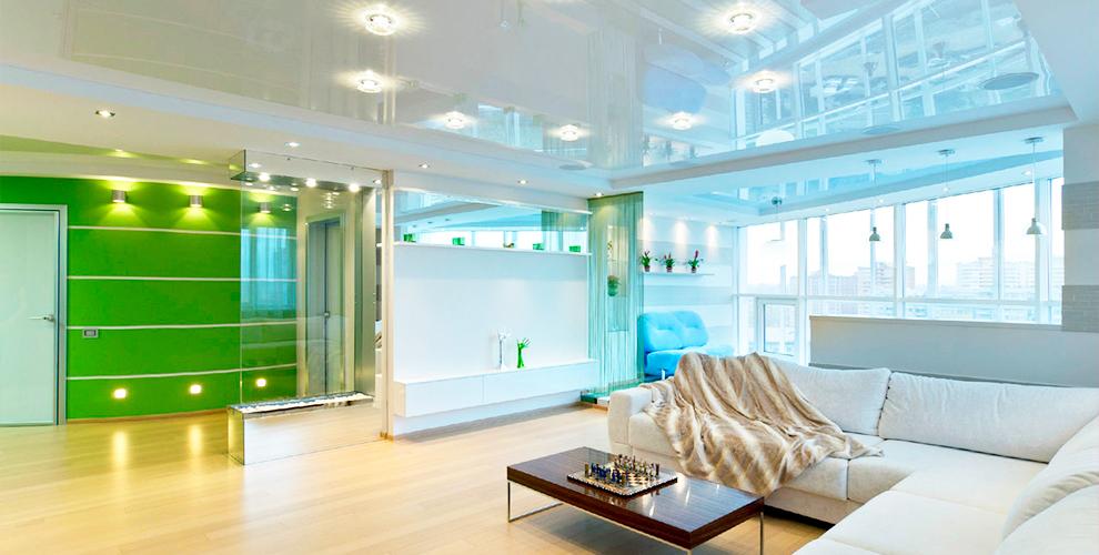 Белые бесшовные натяжные потолоки Lackfolie от компании «Дилер центр»