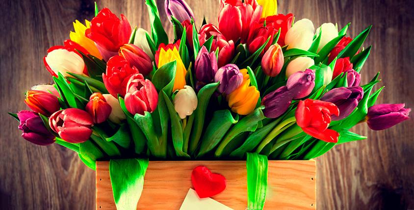 """Тюльпаны, пионовидные розы, цветы в шляпной коробке, букеты от магазина """"Дом Флористики"""""""
