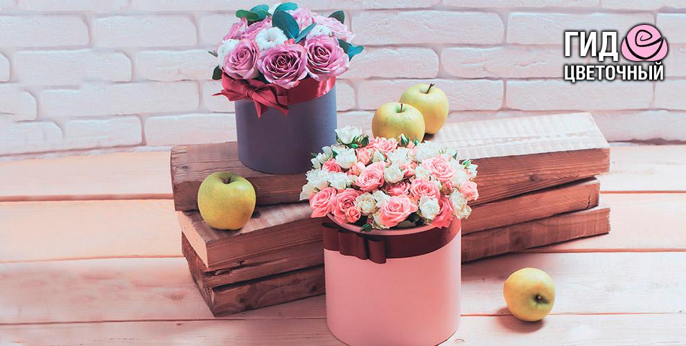 Букеты из роз и композиции в шляпной коробке от интернет-магазина «Цветочный Гид»