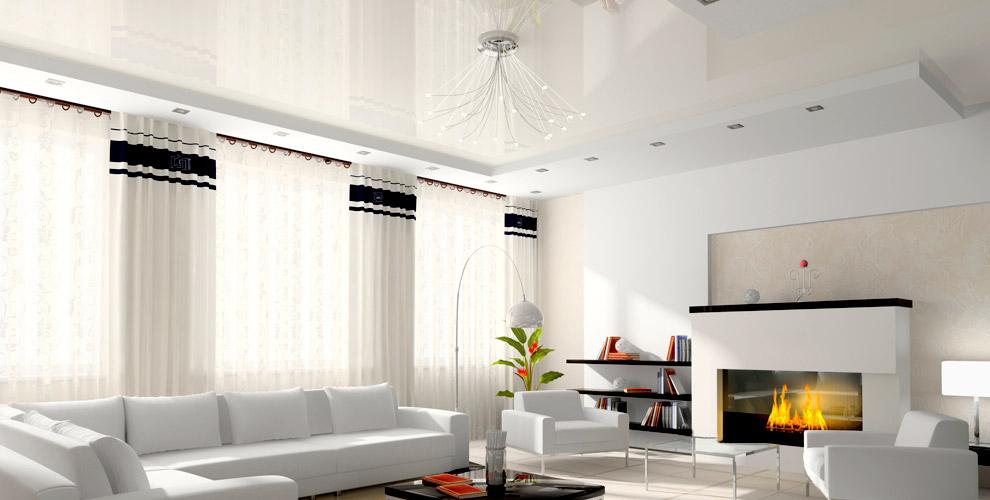 Белые или цветные натяжные потолки c шумоизоляцией от студии дизайна Deckehome