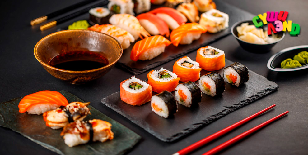 Сеты, роллы, суши, гунканы и хосомаки от службы доставки «Суши Лэnd»