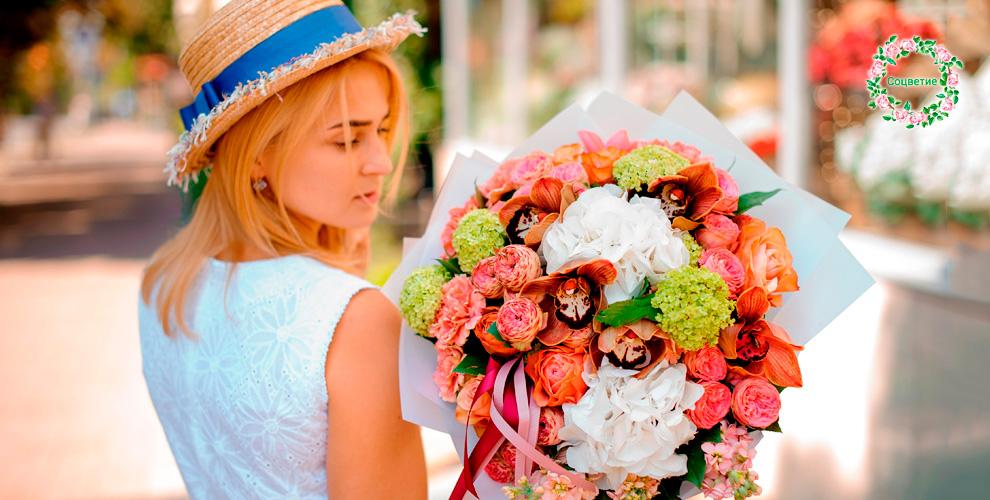 Разнообразные цветы и букеты в салоне «Соцветие»