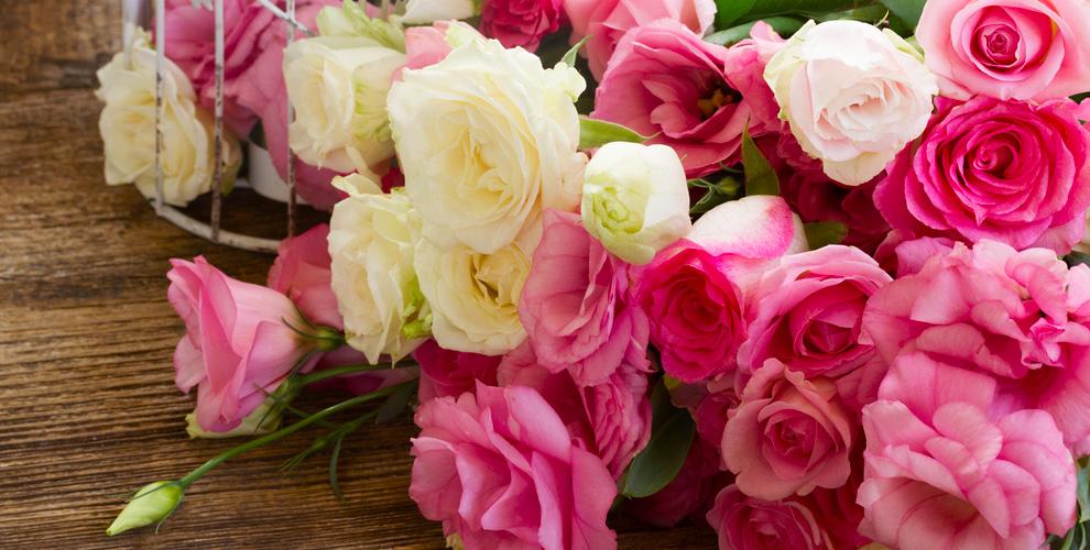 Розы и нарциссы в флористической лавке «Цветы Provance»
