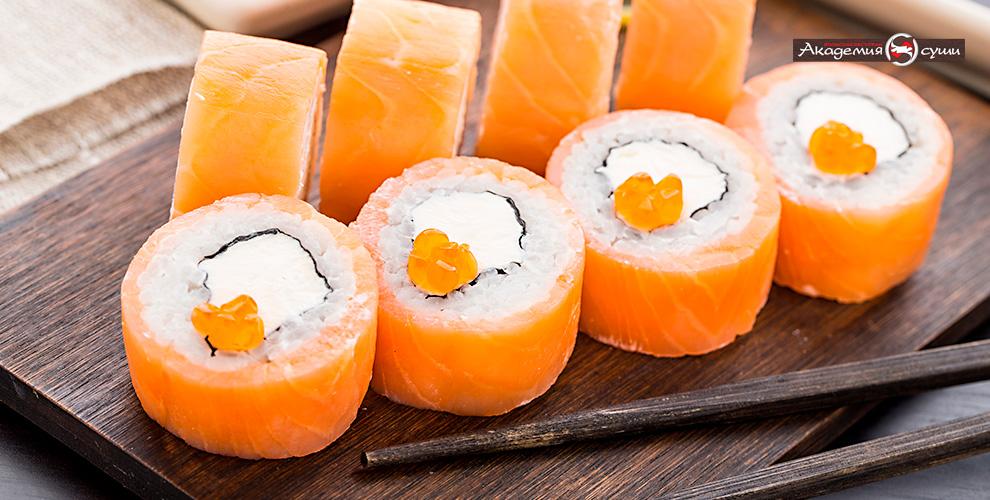 Разнообразное меню роллов вресторане «Академия суши»