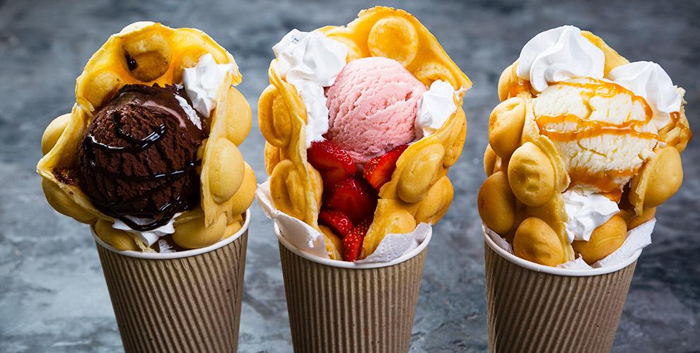 Гонконгские вафли, кофе, жареное ролл-мороженое, соки вдесерт-баре Vogoo