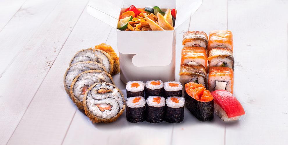 Меню японской кухни, лапши-вок идесертов отслужбы доставки «Император ролл»