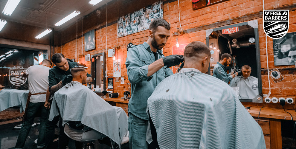 Моделирование бороды и мужская стрижка в парикмахерской Free Barbers