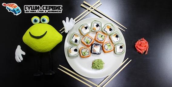 """А у нас большой размер, роллы, суши, наборы от ресторана доставки японской кухни """"Суши-Сервис"""""""