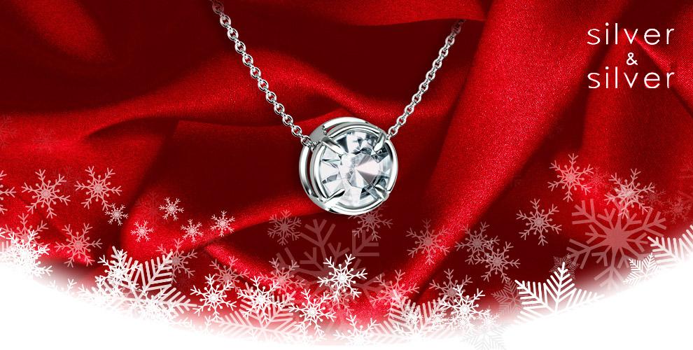 Серебряная подвеска со сверкающим кристаллом от сети салонов Silver&Silver