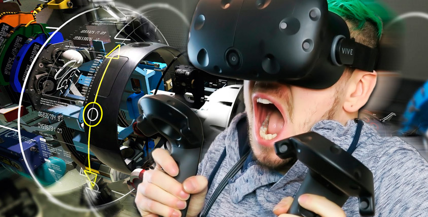 Игры в шлеме виртуальной реальности HTC VIVE в стрелковом комплексе SHOOTER