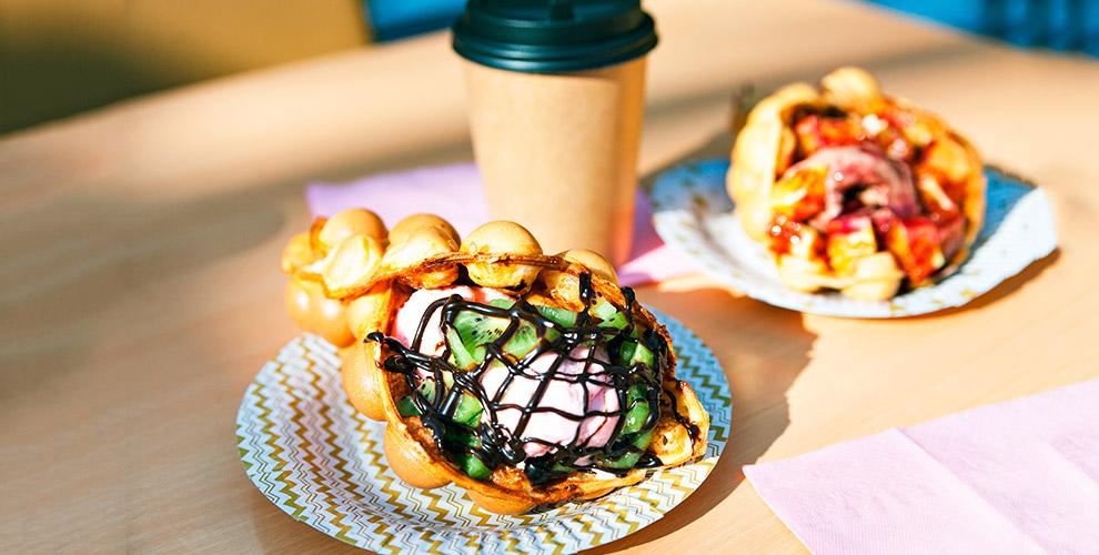 Набор «Вафля + напиток» в кафе «Гонконгские вафли на Гороховой»