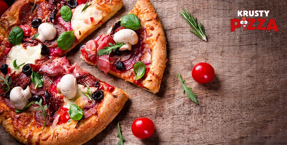 Сытные пиццы «Пепперони», «Гавайская», «Маргарита» ипирогиот«Красти пицца»