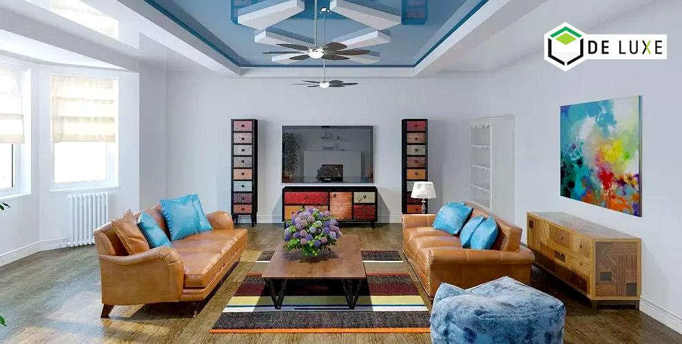 Изготовление, монтаж цветных глянцевых потолков от компании De Luxe