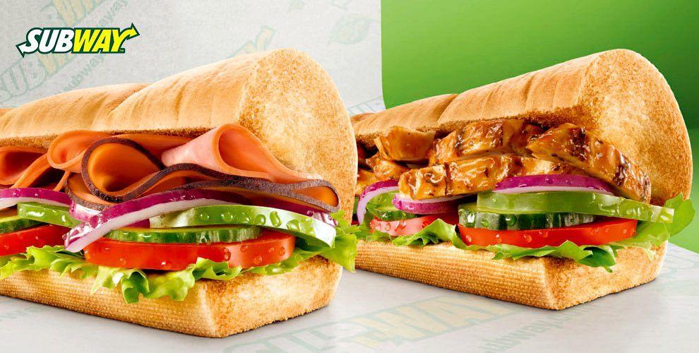 Меню аппетитных сэндвичей в ресторане быстрого питания Subway