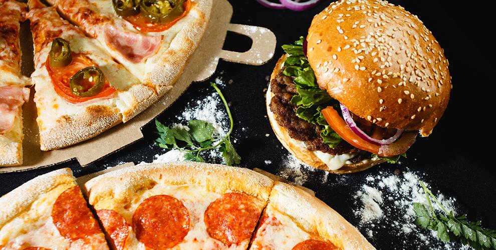 Меню пиццы и бургеров от службы доставки «Астерикс»