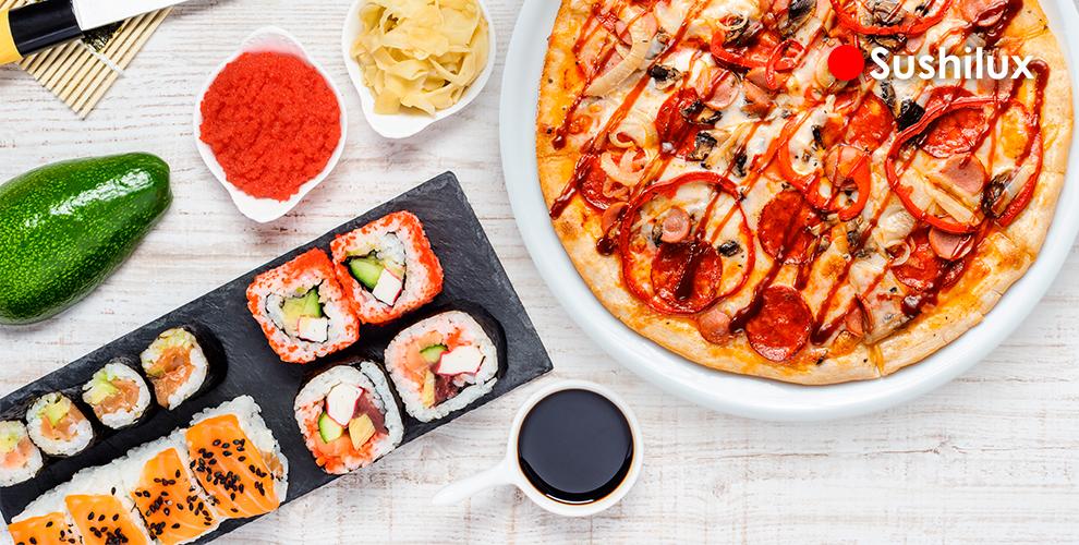 Сеты от535руб.,пицца ипироги, мексиканская кухня ияпонское меню отSushiLux