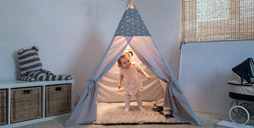 Детский вигвам, подушка с росписью и комплект бортиков от мастерской Just Happy 174