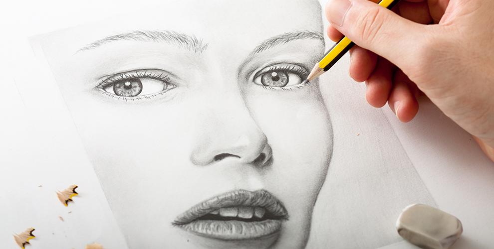 Изготовление портрета черным графитом, а также цветного или черно-белого шаржа