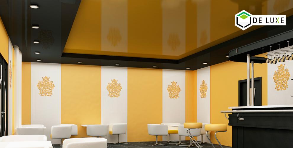 Изготовление и монтаж цветных глянцевых потолков от компании De Luxe