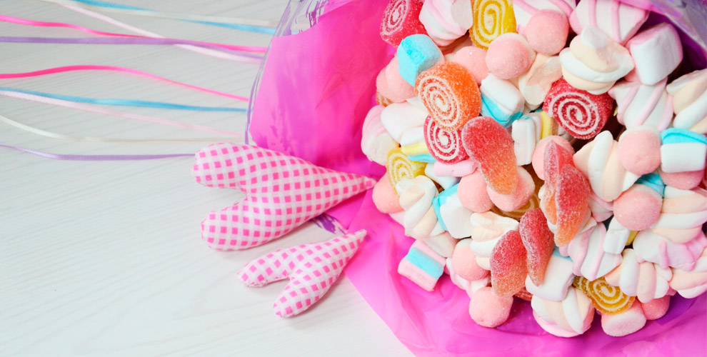 Букеты из зефира, маршмеллоу, мармелада и других сладостей от The Wedding Fun