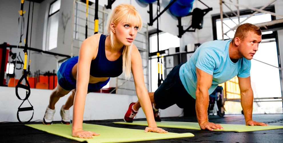 Занятия втренажерном зале, фитнес, посещение сауны вклубе «Территория спорта»