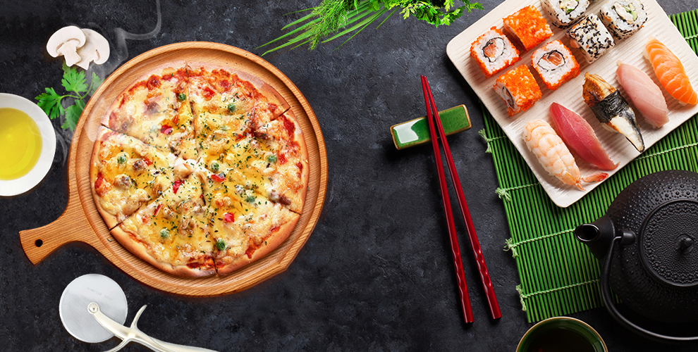 Меню пиццы и японской кухни от службы доставки Food House