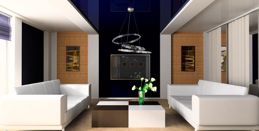Изготовление, монтаж цветных глянцевых потолков откомпании DeLuxe