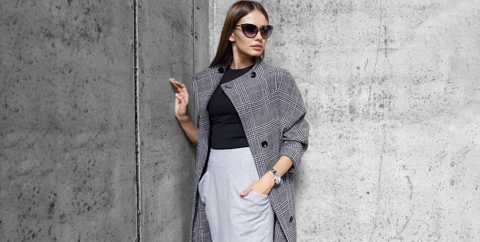 Ассортимент одежды: пальто, блузы, платья, юбки, жакеты ибрюки вмагазине PRIZ