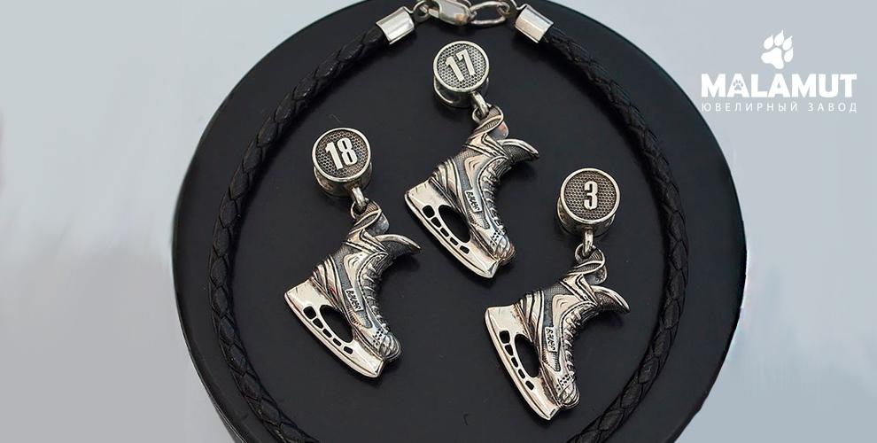 Серебряные подвески исерьги соспортивной тематикой отювелирного завода Malamut