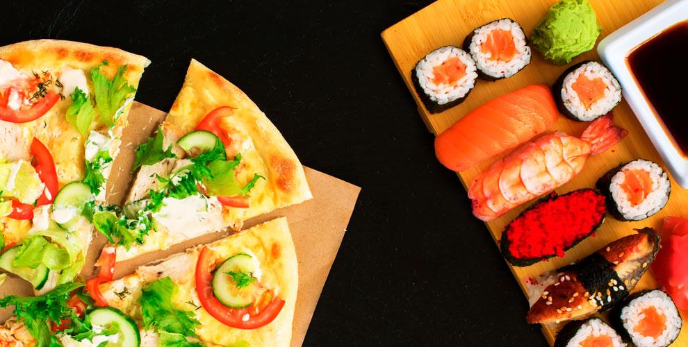 Разнообразное меню пиццы ироллов отслужбы доставки «Белый Тигр»